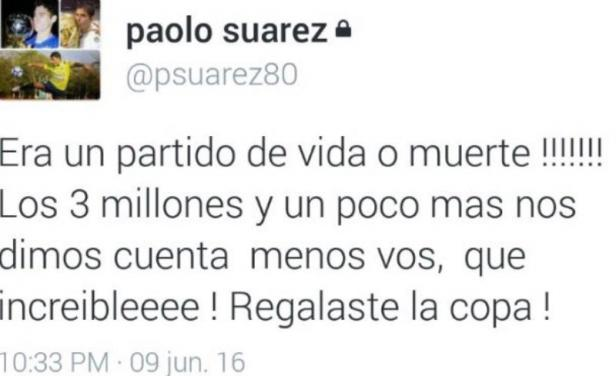 Tweet de Paolo Suárez