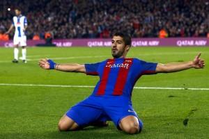 Suárez celebra su gol ante Espanyol