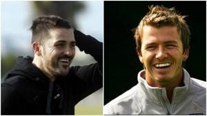 David Villa y David Beckham