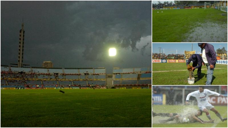 Lluvia  en el fútbol uruguayo