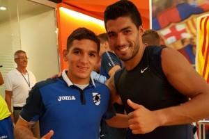Lucas Torreira y Luis Suárez
