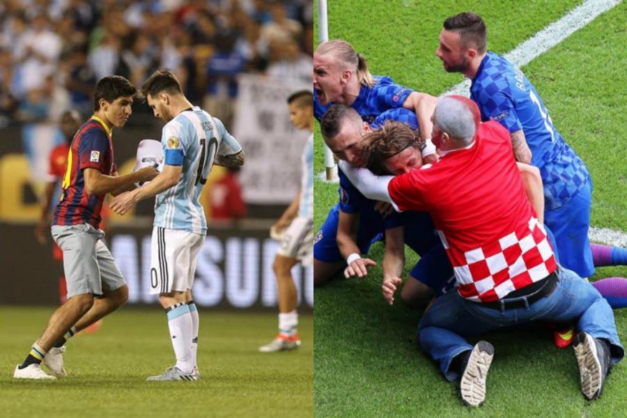 Los fanáticos celebran con Lionel Messi y Luka Modric