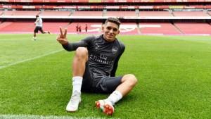 Lucas Torreira en el Emirates. Foto: @LTorreira34